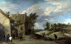 Peasants playing Bowls outside a Village Inn - (David The Younger Teniers)