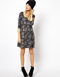 Image 4 of ASOS Smock Dress In Burnt Out Floral