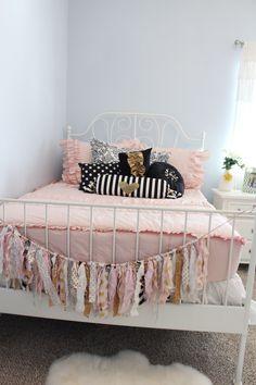 Blush pink, black, white & gold girls