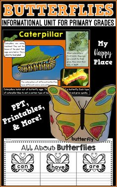 This frog unit includes an informational PowerPoint and many activities to get your students learning and writing about butterflies! non-fiction, life cycle, caterpillars, kindergarten, first grade Class Activities, Writing Activities, Math Resources, Teaching Main Idea, Teaching Themes, Science Lessons, Kindergarten Activities, Literacy Centers, Student Learning