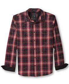 GUESS Dillon Geometric Plaid Button-Down Shirt