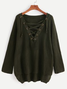 Dark Green Eyelet Lace Up High Low Sweater