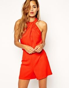 $63, Collection Romper With Twist Neck Detail by Asos. Sold by Asos. Click for more info: http://lookastic.com/women/shop_items/136571/redirect
