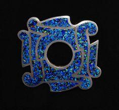 Margot de Taxco Confetti Brooch Vintage Modernist Enamel Lapis Blue Sterling Pin Southwestern Silver Style Jewelry