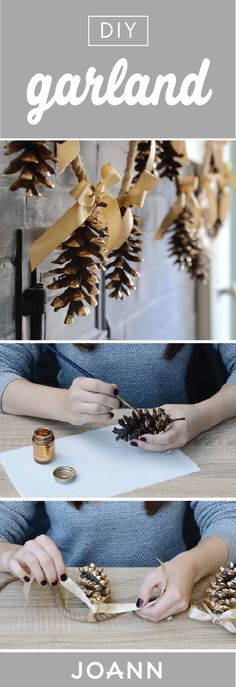 Simple but as sweet as can be, this DIY Pinecone Garland is one holiday decoration you might just want to keep up all year round. Whether you have a rustic or timeless home decor style, this handmade accessory is sure to suit any space. Pinecone Garland, Diy Christmas Garland, Diy Garland, Rustic Christmas, Winter Christmas, Christmas Holidays, Christmas Decorations, Garland Ideas, Pinecone Decor