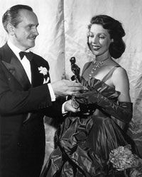 Loretta Young accepting Academy Award for The Farmer's Daughter