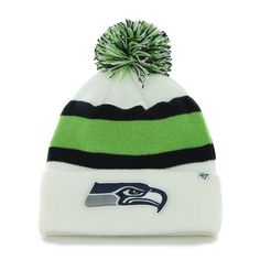 Seattle Seahawks 47 Brand White Navy Green Knit Cuff Breakaway Beanie Hat  Cap 7b1a292c7