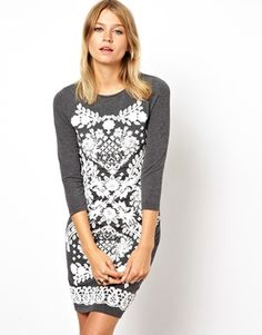 Image 1 of ASOS Body-Conscious Dress With Lace Design Puff Print
