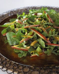 """""""WALDORFED SPINACH SALAD A new way to add apples into your Fall or Rosh Hashanah menu.  Add some sliced, cooked chicken or salmon and you have a great new main course on a hot summer (or fall!) evening."""