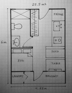 Small Apartment Layout, Tiny House Layout, Shed To Tiny House, Tiny House Cabin, House Layouts, Small Apartments, Narrow House Designs, Microhouse, Small House Floor Plans