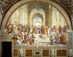 """RAFAEL Sanzio: """"La Escuela de Atenas"""". Decoración de las Estancias Vaticanas."""