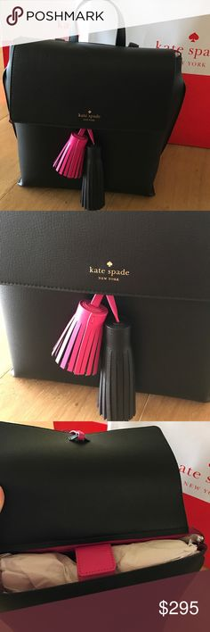 ❤️LAST ONE❤️Kate spade ♠️ backpack Absolutely stunning black leather backpack with pink and black tassel and pink interior and pink detail on straps, very spacious inside and fashionable beyond words! Gorgeous! Has magnetic closure and an extra compartment inside with zipper. Will ship with original Kate spade ♠️ paper bag from store. Deal of a lifetime ❤️❤️ kate spade Bags Backpacks