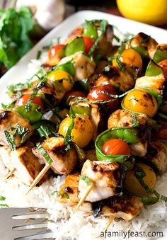 Lemon-glazed #swordfish skewers over white rice: http://goo.gl/4XcaJH