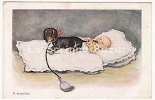 cartolina d'epoca WSSB 1044 bambino cane bassotto dachshund dackel teckel