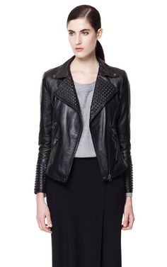 Image 2 of LEATHER JACKET WITH COVERED STUDS from Zara