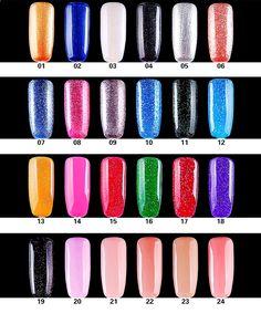 HANCHAO New Bright 24 Colors Gel Nagellack 15ML Beautiful Sequius Nail Art UV / Lamp Nagellack Högkvalitativ Fabriksförsäljning 21st, Bright, Beautiful, Gel Polish