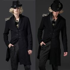 Men Black Double Breasted Hipster Fashion Dress Trench Coat Jacket SKU-11401371