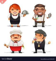 restaurant professions set. Download a Free Preview or High Quality Adobe Illustrator Ai, EPS, PDF and High Resolution JPEG versions.
