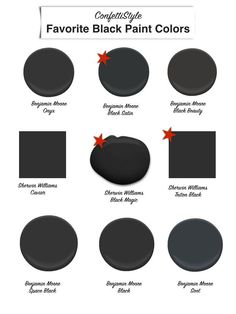 The Best Black Paint Colors. Black Paints for decorating and painting your home. Shopping for black paint. Painting tips using black paint. Door Paint Colors, Bedroom Paint Colors, Exterior Paint Colors, Paint Colors For Home, Paint Decor, House Colors, Black Interior Doors, Interior Paint, Interior Design