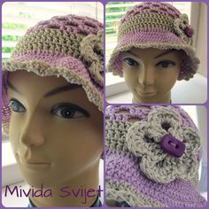 crocheted hat for girls in lovely lavander