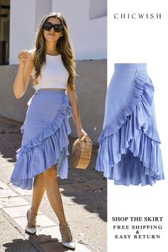 Applause of Ruffle Tiered Frill Hem Skirt in Blue StripesTrendy Ideas For How To Wear Skirts In Summer ClothesSearch results for: 'ruffle skirt' - Retro, Indie and Unique Fashion Classy Outfits, Chic Outfits, Dress Outfits, Casual Dresses, Fashion Dresses, Blue Skirt Outfits, Baby Dresses, Dresses Dresses, Dance Dresses