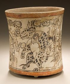 Drinking Vessel Depicting Otherworldly Toad, Jaguar, and Serpent - Mexico, Southern Campeche, - Slip-painted ceramic Arte Tribal, Tribal Art, Ceramic Painting, Ceramic Art, Painted Ceramics, Objets Antiques, Maya Civilization, Inka, Art Antique