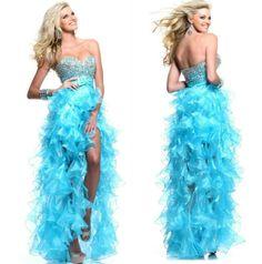 Blue Organza Front Short Long Back Hot Sale 2013 Prom Dresses High Low Plus Size $159.99