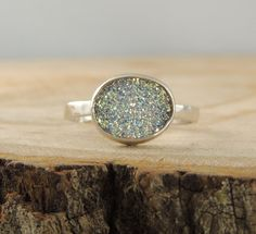 Really love this one! Who cares if its not a diamond  14k White Gold Druzy Quartz Ring, Handmade Engagement Ring ~ $270.00