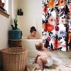 SHOP THE LOOK - Anthropologie Agneta Shower Curtain, floral home decor bathroom ideas, plants urban outfitters vibes decoration Floral Shower Curtains, Bathroom Shower Curtains, Boho Bathroom, Scandinavian Home, Best Interior Design, Beautiful Bathrooms, Architecture, Decoration, Room Inspiration
