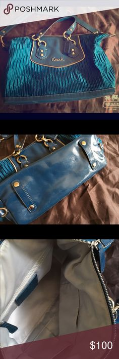 Coach gathered satchel teal blue Absolutely stunning teal blue Coach satchel. Great used condition. Inside has light staining around zipper (see pictures) but that doesn't detract from the beauty. Coach Bags Satchels