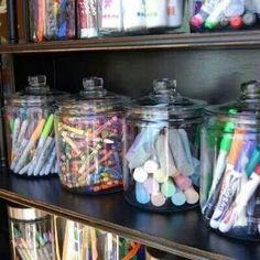 Love the jars! Office Organization #office #organization