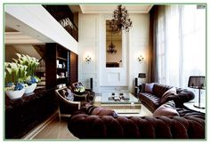 Amazing Interior Decorating Ideas For Living Room With High Ceiling And Brown Leather Sofa Sets