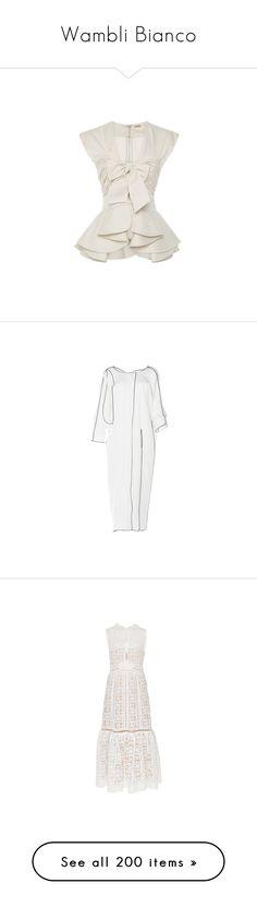 """Wambli Bianco"" by wambliwakan ❤ liked on Polyvore featuring tops, shirts, peplum shirt, bow top, white peplum shirt, sleeveless peplum top, sleeveless tops, maison rabih kayrouz, bags y handbags"