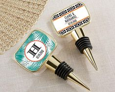 Perfect for your tropical bridal shower favor or tropical wedding favor, our Personalized Gold Bottle Stopper with Epoxy Dome tops all your favorite bottles with a touch of Tropical Chic sunshine!