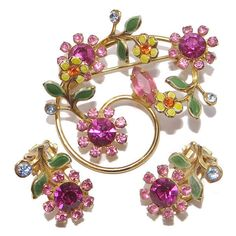 Earrings Brooch Floral Set Vintage Flower Brooch and Clip On Earrings... ($54) ❤ liked on Polyvore featuring jewelry