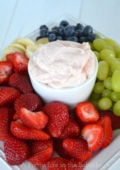 Strawberry Fluff Fruit Dip {A Pretty Life}. Just 3 ingredients and 5 minutes for the best fruit dip ever!
