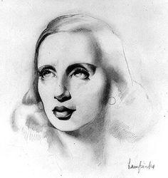 Tamara de Lempicka: Self-Portrait - c. 1939 - Crayon on paper - 32x23,5cm. - Private collection, France