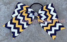 2.25 Width Jumbo Cheer Bow 6.5 Across Navy Gold and White Chevron Cheer by JustImagineThatBows