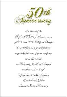 Wording for 50th wedding anniversary invitations the wedding wedding anniversary invitation cards in three layouts no 6 flat card no 6 folder card and lee size flat card stopboris Image collections