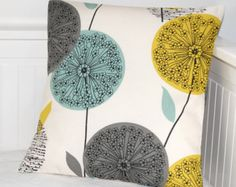 Decorative pillow cover ,teal blue grey mustard yellow dandelion cushion cover, flower pillow cover 16 inch - Style and Decor - Cool Decorative Pillows Living Room Colors, Living Room Grey, Bedroom Colors, Bedroom Ideas, Mustard Cushions, Teal And Grey, Teal Blue, Flower Pillow, My New Room