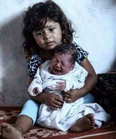 In Gaza you dont get a childhood, She is an orphan who is now taking responsibilty as a mother to her brother #Gaza