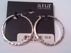 "a.n.a a new approach Hammered Antiqued Silver metal Hoop Earrings 2"" #anaanewapproach #Hoop"
