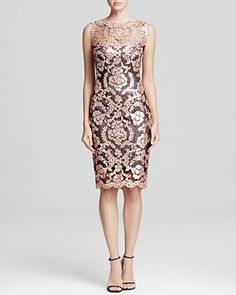 Tadashi Shoji Dress - Sleeveless Illusion Neckline Sequin Lace Sheath