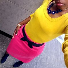 Mustard Yellow, Pink and Navy Blue – Pink and Gabulous