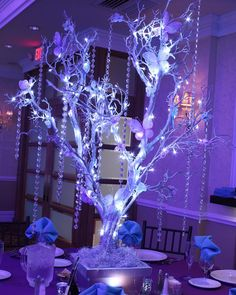 Our magnificent LED butterfly tree centerpiece for Paige's Sweet 16 today! #sweet16 #sweetsixteen #butterflycenterpiece #treecenterpiece #sweet16decor #sweetsixteendecor #sweet16decorations