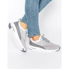 Nike Air Max Thea Sneakers In Premium Grey Nubuck ($150) ❤ liked on Polyvore featuring shoes, sneakers, laced sneakers, nike trainers, gray shoes, lace up sneakers and nike footwear