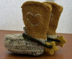 PDF Pattern for Knitted cowboy boot booties and by MargoMadeit, $3.50
