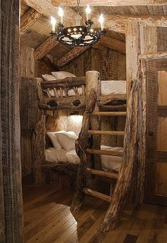 Hobbit Bed via Dayoris Custom This would look GREAT in a log cabin....maybe someday....or a beach house using driftwood or white washed wood!