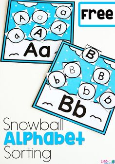 These snowball alphabet sorts are the perfect alphabet activity for your preschoolers this winter! Use this free printable at your literacy centers during your winter theme! Use the color or black & white version! #wintertheme #alphabetprintable #lifeovercs via @lifeovercs
