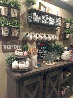 Coffee Bar Ideas - Looking for some coffee bar ideas? Here you'll find home coffee bar, DIY coffee bar, and kitchen coffee station. Coffee Nook, Coffee Bar Home, Home Coffee Stations, Coffee Wine, Coffe Bar, Coffee Bar Ideas, Coffee Maker, Coffee Bar Design, Coffee Station Kitchen